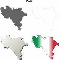 Pavia blank detailed outline map set