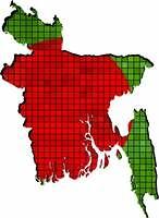 Bangladesh map with flag inside
