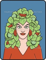 Woman With Lettuce For Hair
