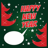 Happy New Year poster with text on chalkboard. Vector illustrati