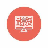 Monitor with business graph thin line icon