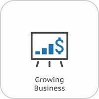 Growing Business Icon. Business Presentation. Flat Design.