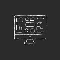 Monitor with a business graph icon drawn in chalk.