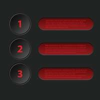 Simplistic 3d infographic in black red color