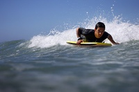 man overboard with bodyboard