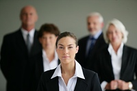 Portrait of a young woman in business suit