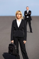 woman in business suit with briefcase Front