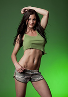 Attractive Brunette Woman on Green