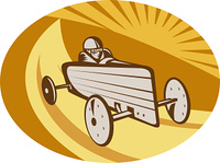 Soap box derby car racing with sunburst