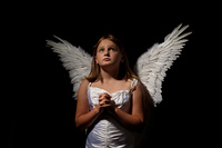 little angel girl at night
