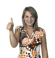 smiling blond girl showing thumb up