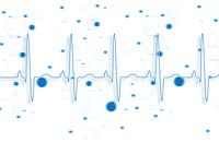 Blue ECG line on blue chemical formula background