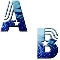 ABC, anticfont, blau, weiss Freisteller, 18 teilig