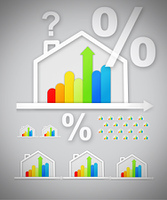 Energy efficient house graphics with question and percentage marks