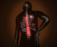 Black digital man with back pain