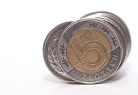 Money 5 PLN on white background
