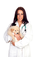 Pretty vet with a cute puppy
