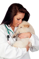 Pretty vet with a beautiful dog