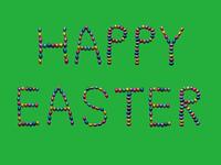 Happy Easter Bunter Schriftzug vor gr?nem Hintergrund