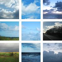 Neun Bilder von Wolken am Himmel