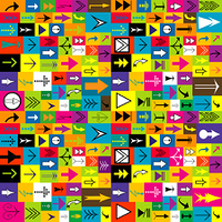 Colorful background with different kinds of arrows