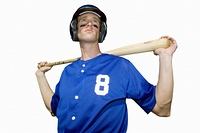 american baseball player holding bat, cut out