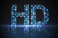 HD made of digital screens in blue