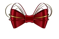 Digitally generated red shiny bow