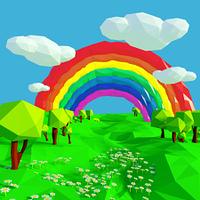 Kleine Landschaft mit Regenbogen