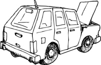 Outlined Car with Open Hood