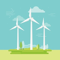 Vector illustration in simple flat style - alternative and renewable energy - wind-powered electrical generators with natural landscape