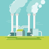 Vector illustration in simple flat style - alternative and renewable energy - geothermal power station with natural landscape