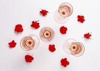 グラスと花