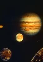 木星と4大衛星(CG)(NASA提供)