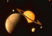 土星とその衛星(CG)(NASA提供)