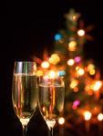 シャンパンとクリスマスツリー